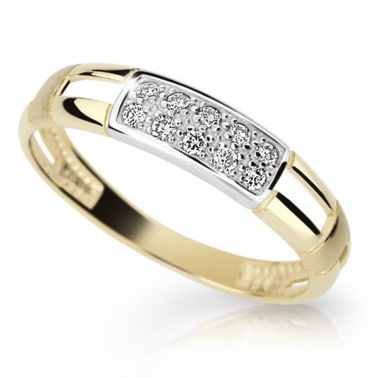 Zlatý prsten DF 2033 ze žlutého zlata, s briliantem