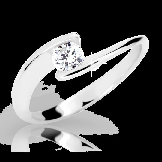 Zlatý prsten DF 2037 z bílého zlata, s diamantem