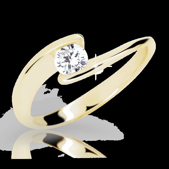 Zlatý prsten DF 2037 ze žlutého zlata, s diamantem