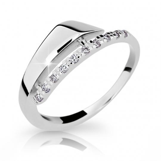 Zlatý prsteň DF 2048 z bieleho zlata, s briliantom