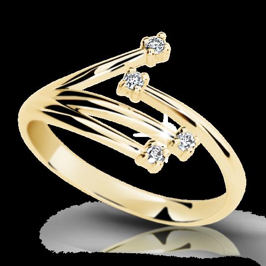 Zlatý prsteň DF 2063 zo žltého zlata, s briliantom