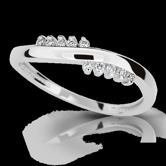 Zlatý prsteň DF 2064 z bieleho zlata, s briliantom