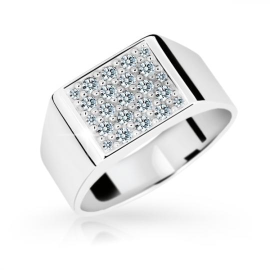 Zlatý prsten DF 2070 z bílého zlata, s briliantem