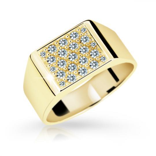 Zlatý prsten DF 2070 ze žlutého zlata, s briliantem