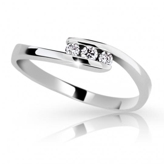 Zlatý prsten DF 2072 z bílého zlata, s briliantem