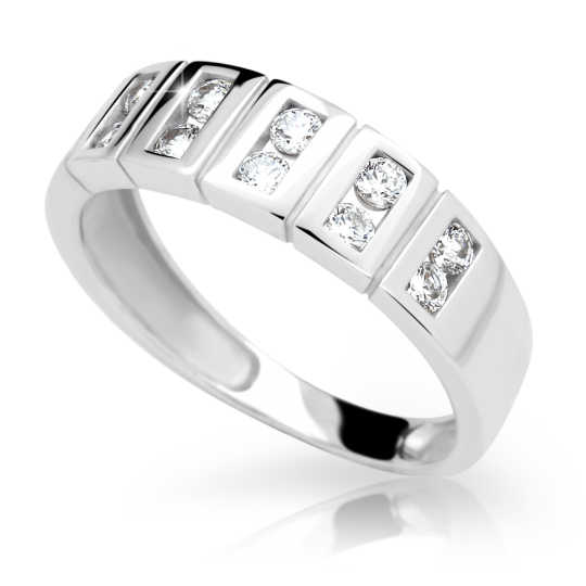 Zlatý prsten DF 2079 z bílého zlata, s briliantem