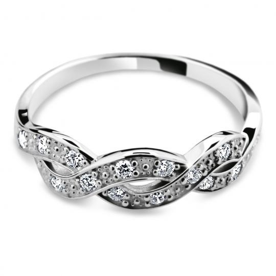 Zlatý prsten DF 2080 z bílého zlata, s briliantem