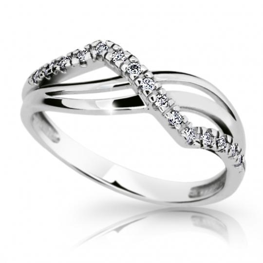 Zlatý prsten DF 2082 z bílého zlata, s briliantem