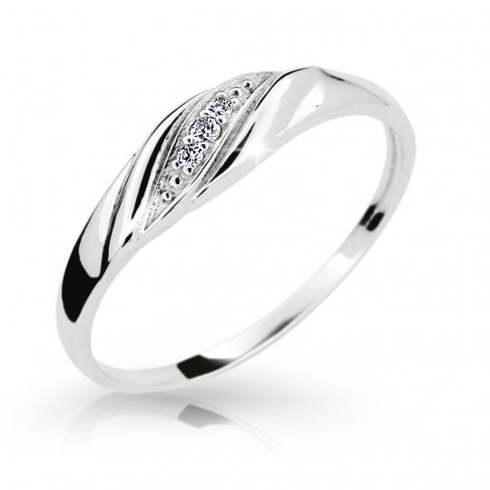Zlatý prsten DF 2084 z bílého zlata, s briliantem