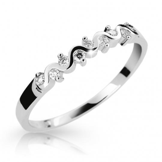 Zlatý prsteň DF 2086 z bieleho zlata, s briliantom