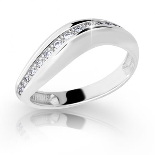 Zlatý prsteň DF 2131 z bieleho zlata, s briliantom