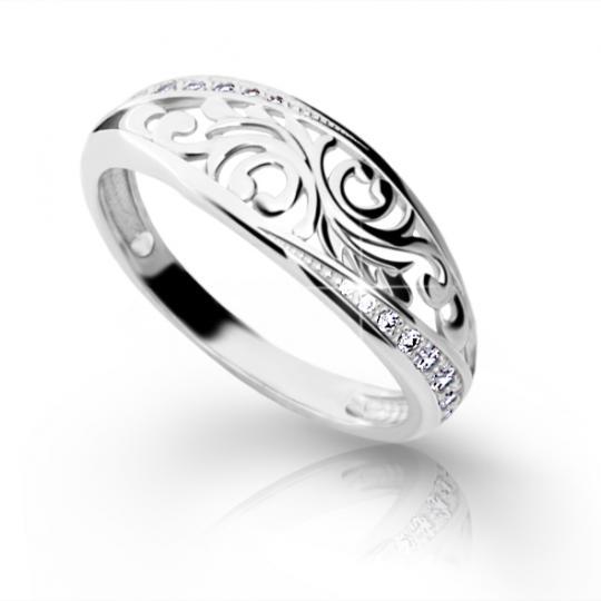 Zlatý prsteň DF 2133 z bieleho zlata, s briliantom