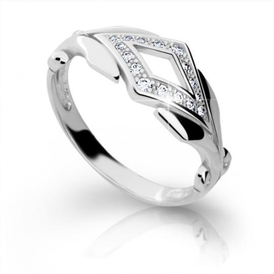Zlatý prsteň DF 2145 z bieleho zlata, s briliantom