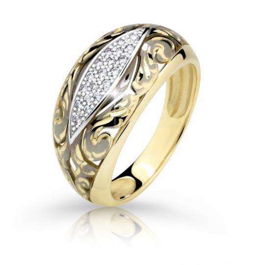 Zlatý prsten DF 2165 ze žlutého zlata, s briliantem