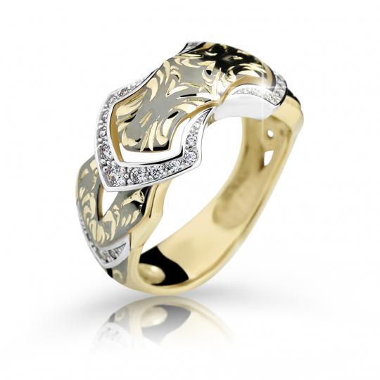 Zlatý prsten DF 2169 ze žlutého zlata, s briliantem