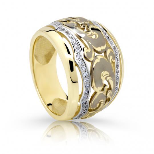 Zlatý prsten DF 2170 ze žlutého zlata, s briliantem