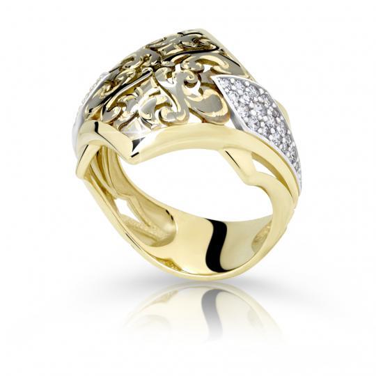 Zlatý prsteň DF 2180 zo žltého zlata, s briliantom