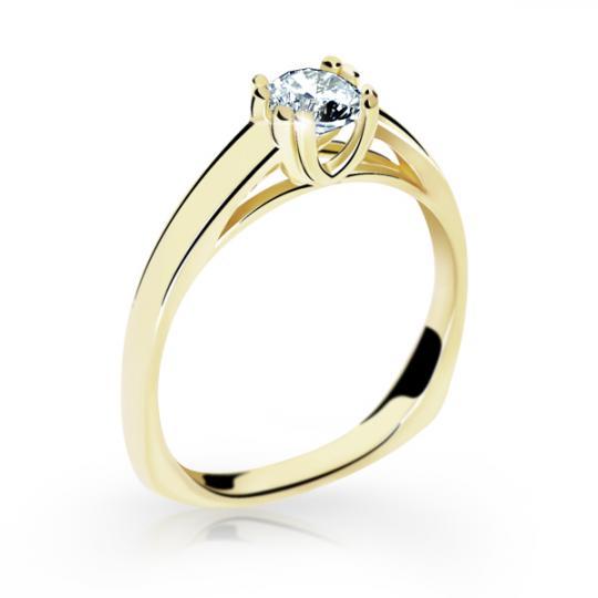 Zlatý prsten DF 2184 ze žlutého zlata, s diamantem