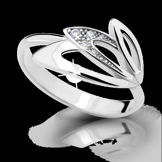 Zlatý prsteň DF 2231 z bieleho zlata, s briliantom