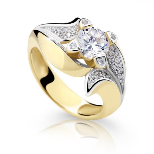 Zlatý prsteň DF 2237 zo žltého zlata, s diamantom