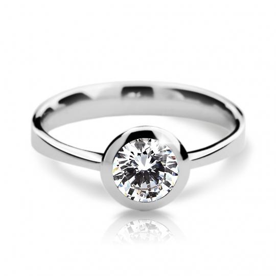 Zlatý prsteň DF 2273 z bieleho zlata, s diamantom