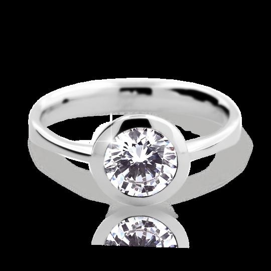 Zlatý prsteň DF 2274 z bieleho zlata, s diamantom