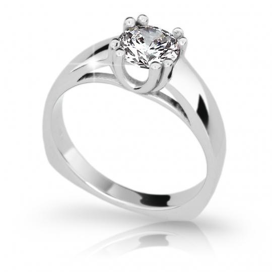 Zlatý prsteň DF 2277 z bieleho zlata, s diamantom