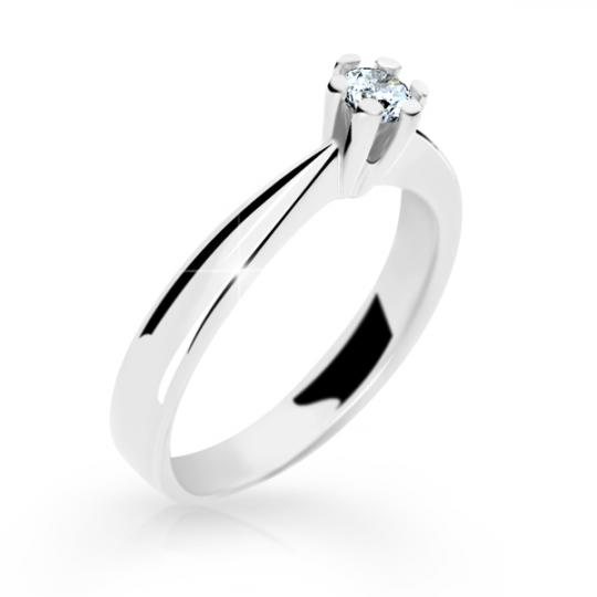 Zlatý prsten DF 2284 z bílého zlata, s briliantem