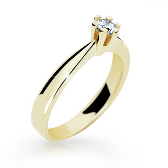 Zlatý prsten DF 2284 ze žlutého zlata, s briliantem