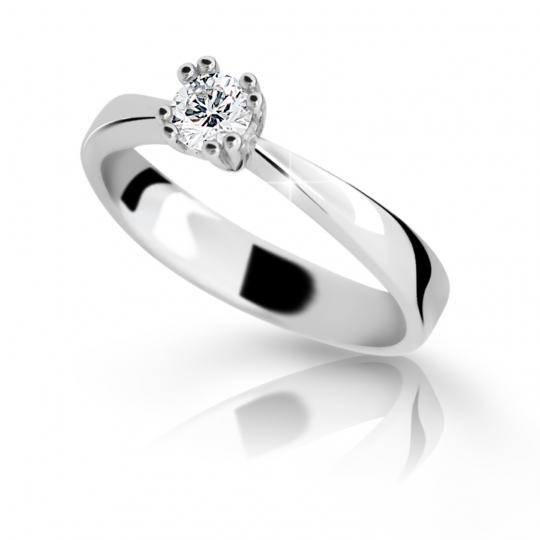 Zlatý prsteň DF 2287 z bieleho zlata, s briliantom