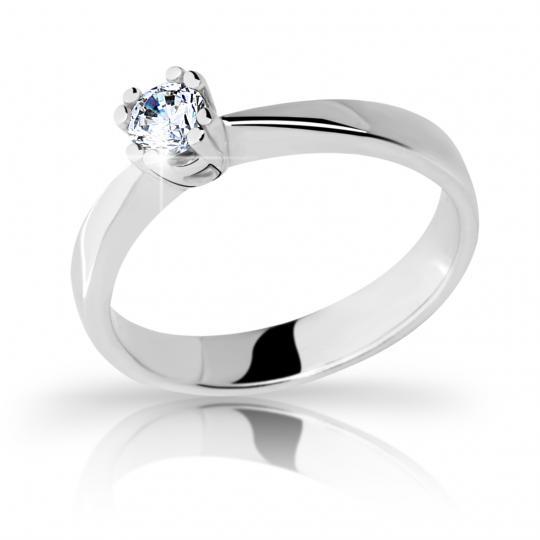 Zlatý prsten DF 2288 z bílého zlata, s briliantem