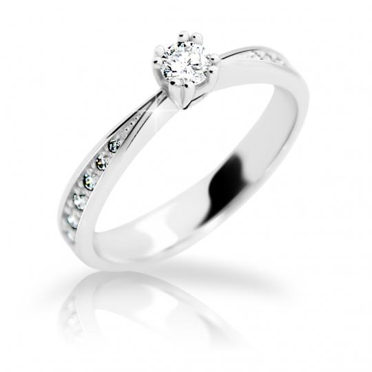 Zlatý prsteň DF 2289 z bieleho zlata, s briliantom