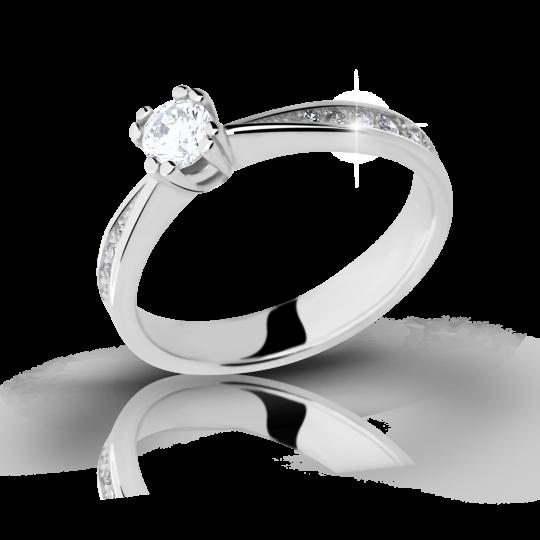 Zlatý prsteň DF 2290 z bieleho zlata, s briliantom