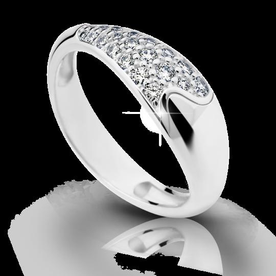 Zlatý prsteň DF 2309 z bieleho zlata, s briliantom