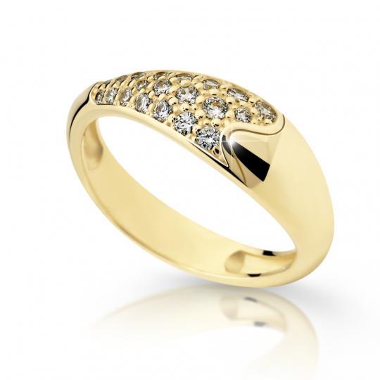 Zlatý prsten DF 2309 ze žlutého zlata, s briliantem