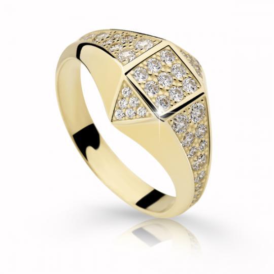 Zlatý prsteň DF 2310 zo žltého zlata, s briliantom