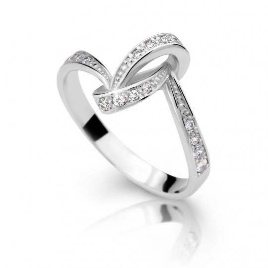 Zlatý prsten DF 2324 z bílého zlata, s briliantem