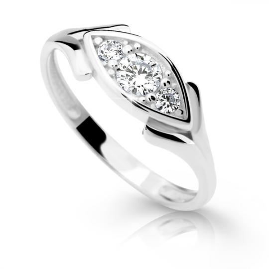 Zlatý prsten DF 2329 z bílého zlata, s briliantem