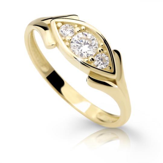 Zlatý prsten DF 2329 ze žlutého zlata, s briliantem