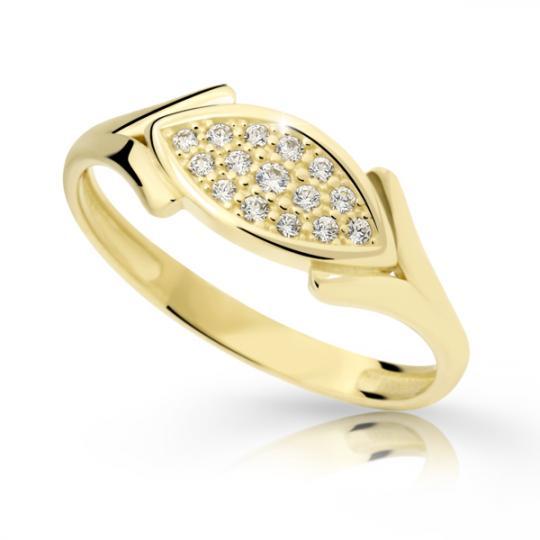 Zlatý prsten DF 2331 ze žlutého zlata, s briliantem