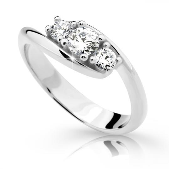 Zlatý prsten DF 2333 z bílého zlata, s briliantem