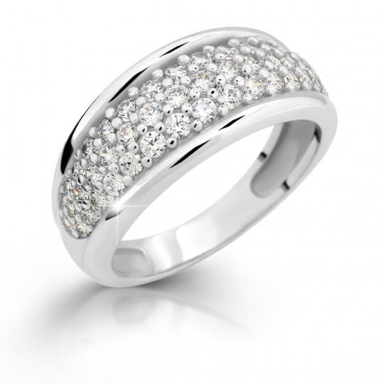 Zlatý prsteň DF 2335 z bieleho zlata, s briliantom
