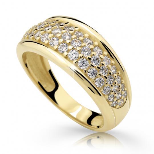 Zlatý prsteň DF 2335 zo žltého zlata, s briliantom