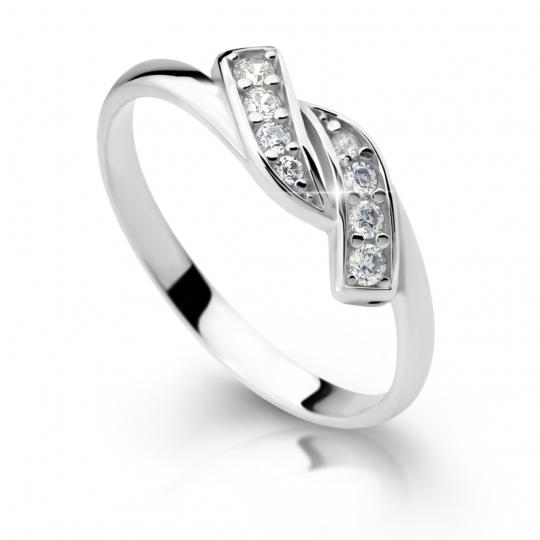 Zlatý prsten DF 2337 z bílého zlata, s briliantem