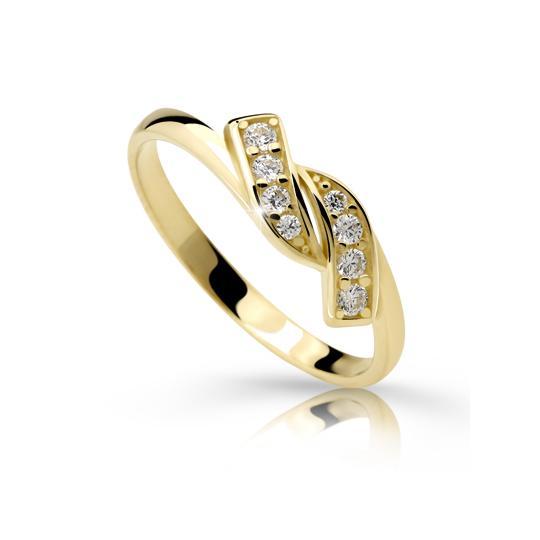 Zlatý prsten DF 2337 ze žlutého zlata, s briliantem