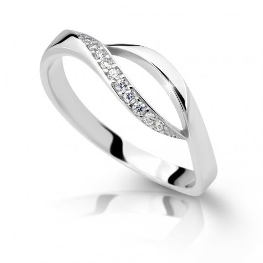 Zlatý prsteň DF 2346 z bieleho zlata, s briliantom