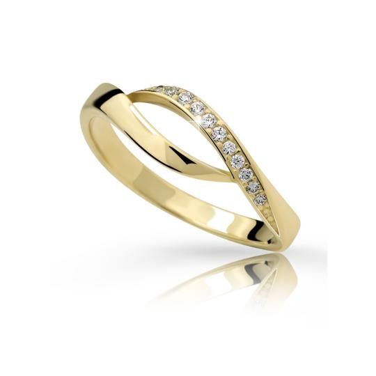 Zlatý prsteň DF 2346 zo žltého zlata, s briliantom