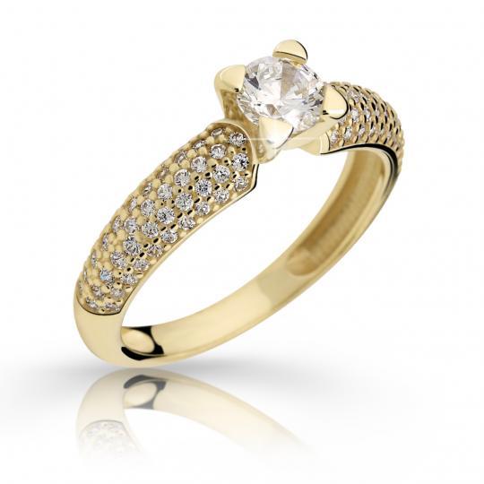 Zlatý prsten DF 2353 ze žlutého zlata, s diamantem