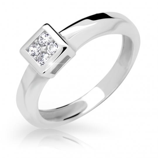 Zlatý prsteň DF 2355 z bieleho zlata, s briliantom