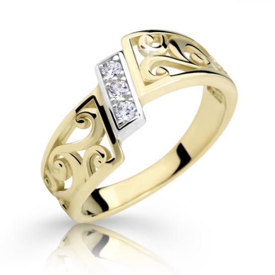 Zlatý prsten DF 2374 ze žlutého zlata, s briliantem